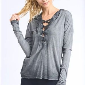Grey Mineral Wash lace up Hoodie size L